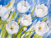蓝天下的白花装饰画