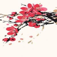 水墨梅花手绘装饰画