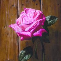 木地板上的玫瑰装饰画
