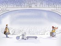 卡通冬日情侣客厅装饰画
