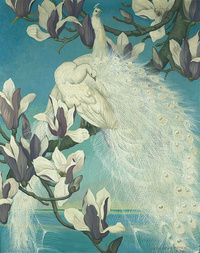 复古白孔雀装饰画