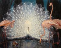 火烈鸟白孔雀装饰画