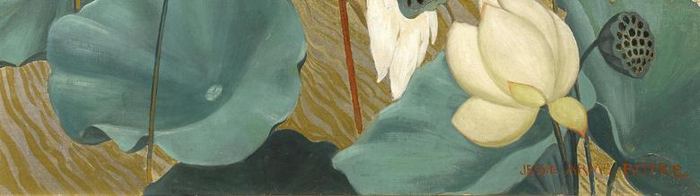 复古荷花小鸟装饰画