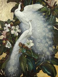 白色孔雀装饰画
