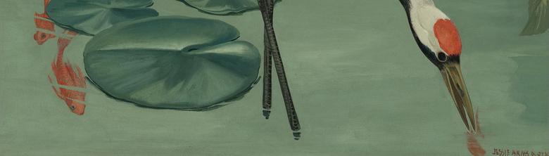 复古仙鹤白花装饰画