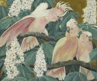美丽复古鹦鹉装饰画