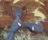 复古蓝色小鸟装饰画