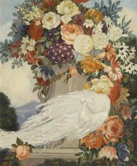复古白孔雀鲜花装饰画