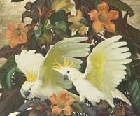 复古白色鹦鹉装饰画
