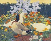 鲜花鸭子装饰画