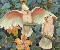 复古粉白鹦鹉装饰画
