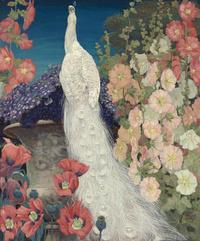 复古白色孔雀鲜花装饰画