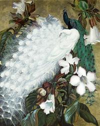 美丽复古白孔雀装饰画