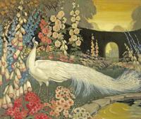 美丽鲜花白孔雀装饰画