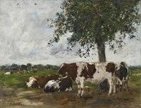 树下的牛油画装饰画