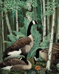 复古树林鸭子装饰画