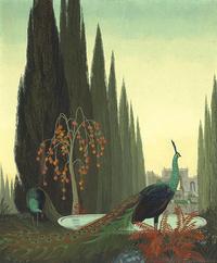 美丽孔雀树林装饰画