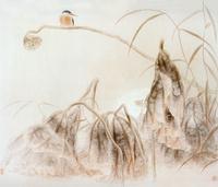 莲蓬上的鸟国画
