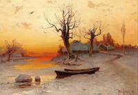 夕阳下的冰湖装饰画