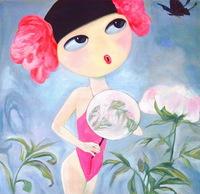 卡通手绘女性人物油画装饰画1