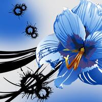 蓝色精美大气卡通花朵无框画