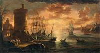 夕阳下的船只装饰画