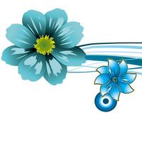 蓝色精美卡通花朵装饰画