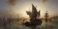 夕阳下的船装饰画