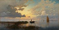 夕阳下划船装饰画