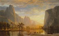 河边小鹿风景装饰画