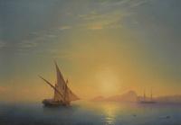 夕阳下的白色帆船装饰画