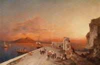 夕阳下的海岸装饰画