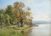 湖边树下放牧装饰画