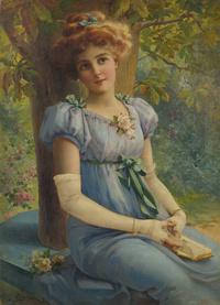 树下看书的女孩宫廷油画装饰画