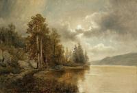 湖边树林装饰画