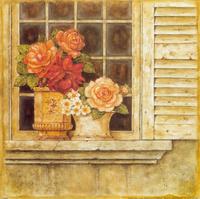 窗户上的花瓶装饰画