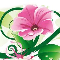 卡通大气时尚粉色花朵绿叶装饰画