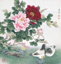 牡丹花和鸽子工笔装饰画