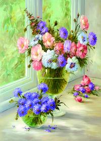 窗台上的花瓶装饰画