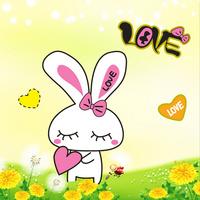 黄色卡通兔子客厅装饰画1