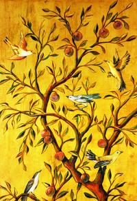 复古果树小鸟装饰画