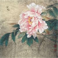 粉色牡丹花工笔装饰画