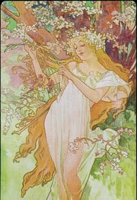 花树下的美女装饰画