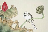 红色荷花小鸟工笔装饰画