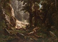 林间休息的小鹿风景装饰画