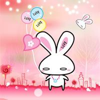 粉色卡通兔子客厅装饰画