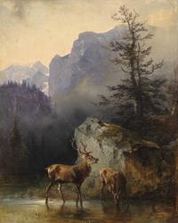 饮水小鹿风景装饰画