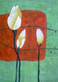 绿色复古荷花装饰画