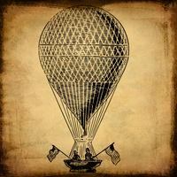 手绘复古热气球装饰画