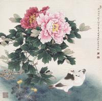 牡丹花鸽子工笔装饰画